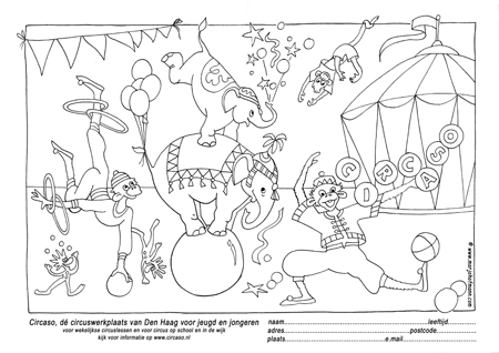 Kleurplaat kindercirus Circaso den Haag