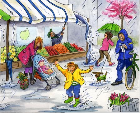 Jaargetijden markt, gouache, Leefwereld, uitg. Noordhoff