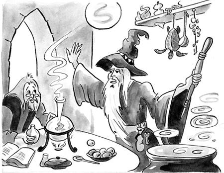 Alchemisten, pen en gouache, Harry Potter, Leefwereld, uitg. Noordhoff