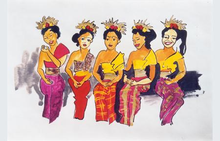 Bali meisjes, gouache, pen