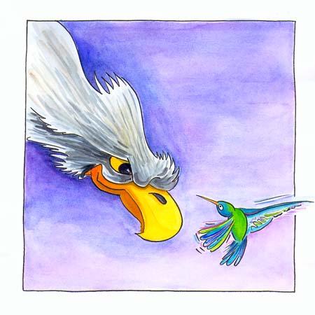 Kolibrie en Adelaar, gouache