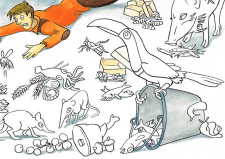 Kleurplaat placemat Terraszaal Blijdorp Zoo - detail
