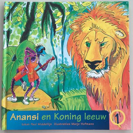 prentenboek Anansi en koning leeuw.